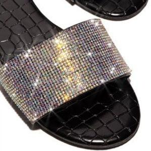 """""""Bling Bling"""" Slides - Black Patent Croc"""